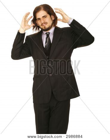 Stress Man In Business Suit