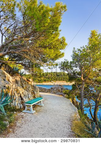 Pathway, Bench And Sea At Makarska, Croatia