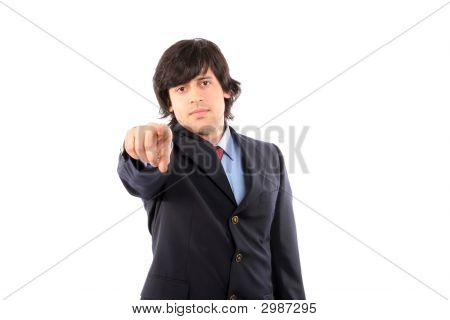 Businessman In A Suit Gestures With His Finger