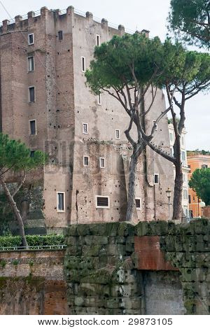 Ancient Building On Forum On Capitoline Hill In Rome