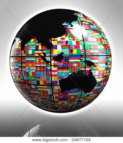 Flags Globe Australia And Asia