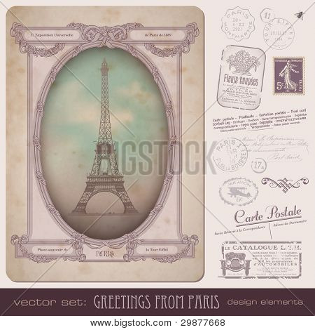 vintage postcard and Paris-themed postage design elements - frame also perfect as a photo frame