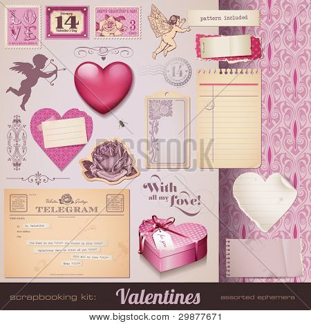 scrapbooking kit: Valentines - romantic ephemera and design elements for your layouts