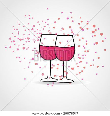 Love drink.  Vector illustration with two wine glasses and hearts