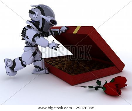 3D render of a robot with romantic gift