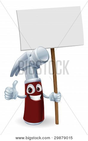 Cartoon Hammer With Board Sign