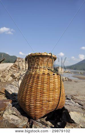 Bamboo Creel Fish Sand River Basket