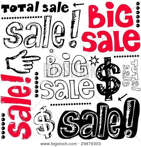 big sale crazy doodles isolated on white background