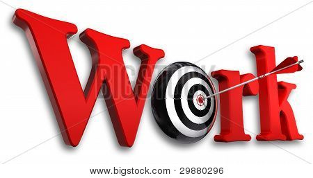 Work Red Word And Conceptual Target With Arrow