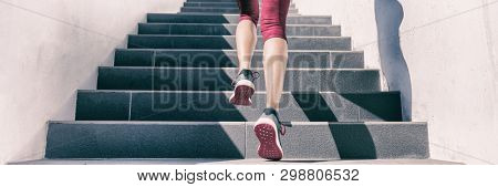 poster of Active weight loss training workout running up stairs for hiit workout cardio training. Staircase cl