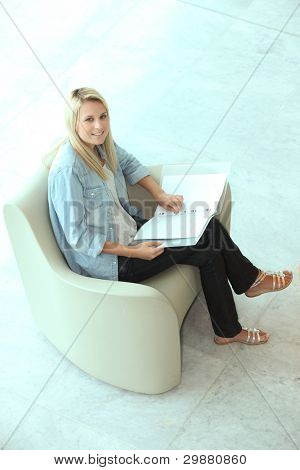 Blond teenager revising