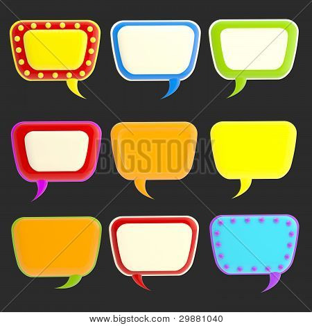 Set of nine blank colorful glossy text bubbles