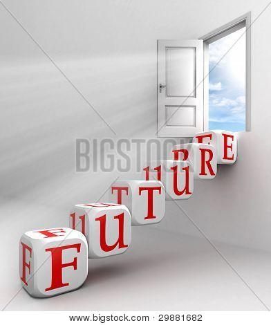 Porta conceitual de futuro palavra vermelho