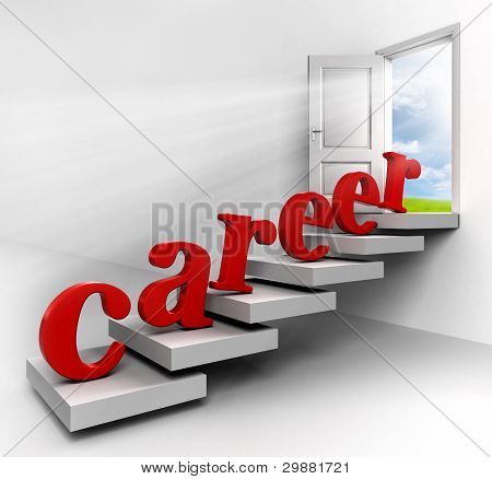 Career word on stair up to open door