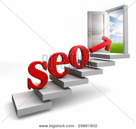 Seo Red Word And Arrow On Stair
