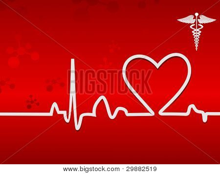 Heart beats in white color on display on a seamless red background for medical purpose.