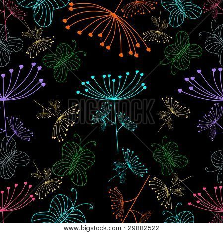 Vector Seamless floral pattern on black color background.