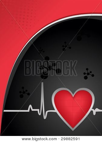 Vector illustration dna molecule and heart shape with heart beats on seamless pink and black medical background