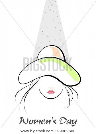 Vector illustration of a young girl wearing hat on white isolated background and text of woman's day and other occasions.