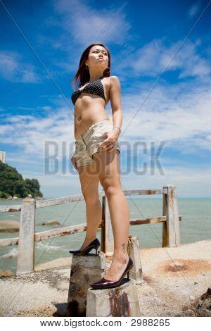 zum Meer blickt zuversichtlich Frau hoch stehend