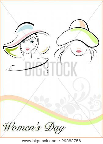 Vector illustration of beautiful young girls wearing  hat and text on white floral and wave background for Women's Day.