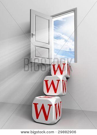 Www Conceptual Door With Sky