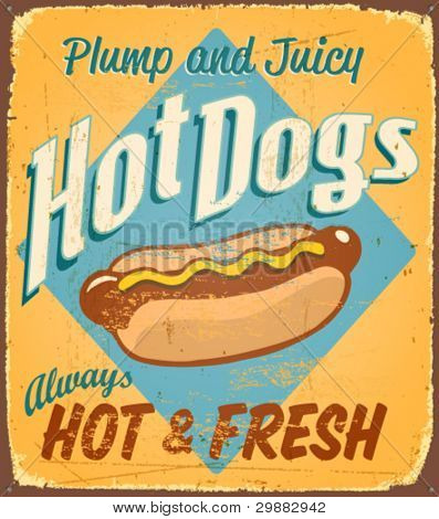 Vintage tin sign - Hot Dogs - Vector EPS10. Grunge effects can be removed.