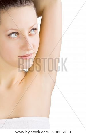Well-groomed female armpit