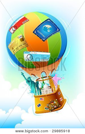 illustration of world famous monument and other travel item in hot air balloon