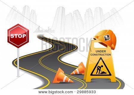 illustration of under construction board on street