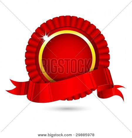 illustration of ribbon badge on white background