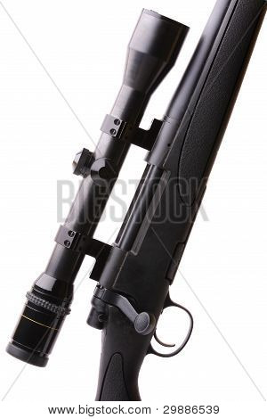 Black sniper gun on the white background