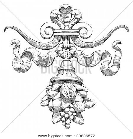 Cornucopia (horn of plenty) - a symbol of abundance and wealth. The architectural element on the ledge of the historical buildings in Prague. Vector sketch