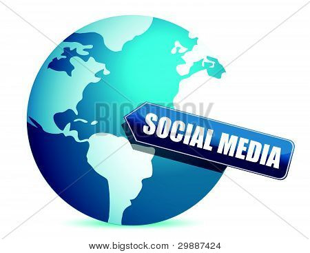 social media globe illustration design over white