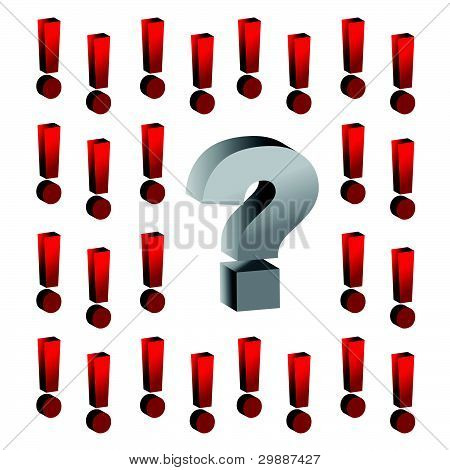 question mark around exclamation marks illustration design