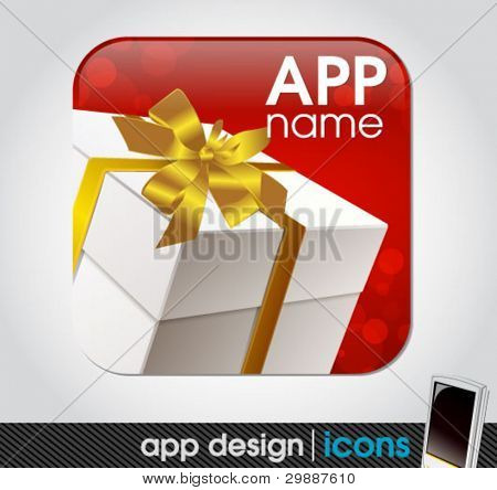 blank app icon for mobile devices with a gift box and a ribbon