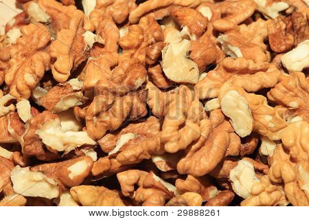Heap Of Unshelled Walnuts Cores
