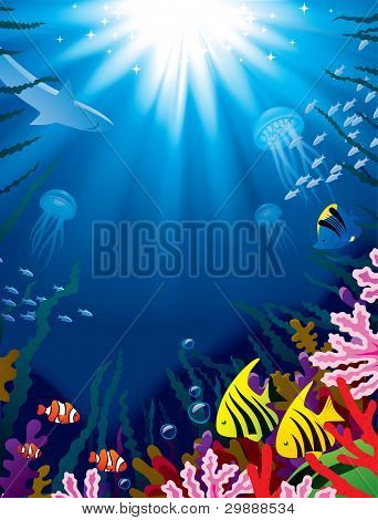 Raster version of vector illustration with underwater world of the tropical sea, coral reefs, colored fishes and bright beams of sunlight penetrate and shine through the  water's surface