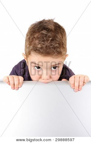 Boy and notebook on the white background