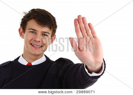 Security Guard With A Stop Gesture