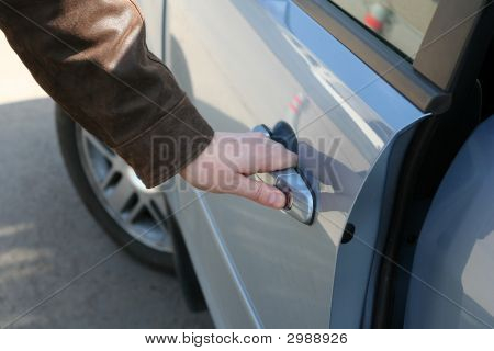 Man Is Open The Door Of New Car