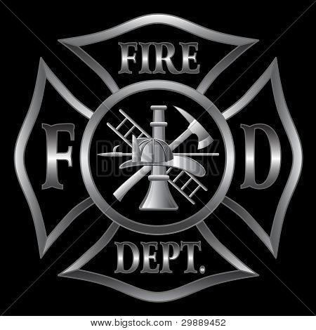 Feuerwehr Malteserkreuz Silber