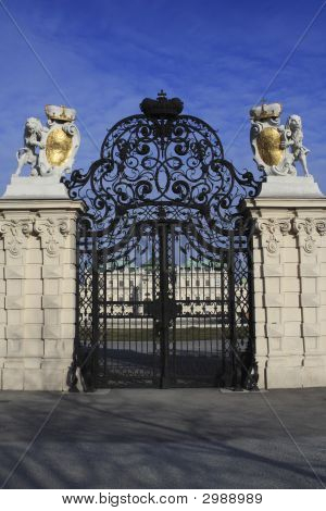 Gate At Belvedere Palace In Vienna Austria