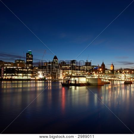 London skyline before sunrise.