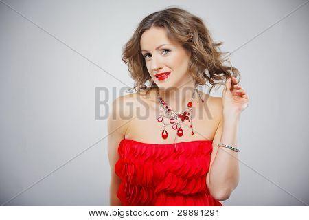 Closeup Retrato de la hermosa chica con maquillaje