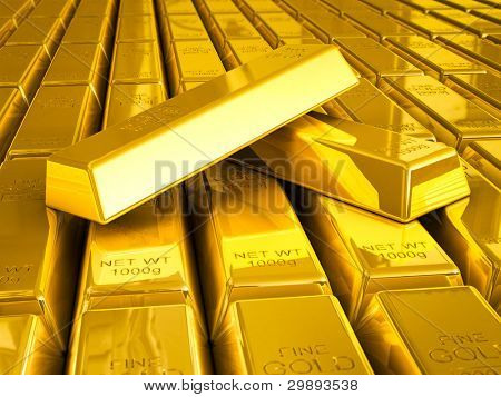 Stacks of gold bars close up