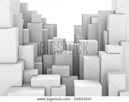 Abstract city of featureless white blocks