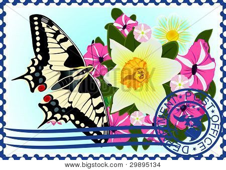 Postage stamp. Butterfly and flowers