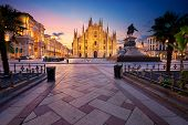 Milan, Italy. Cityscape Image Of Milan, Italy With Milan Cathedral During Sunrise. poster