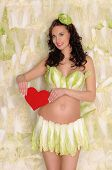 pregnant woman in lingerie from cabbage and heart